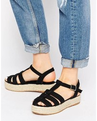 Sandales spartiates en daim noires Asos