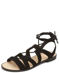 Sandales spartiates en daim noires Rebecca Minkoff
