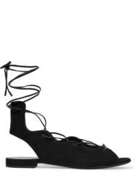 Sandales spartiates en daim noires Saint Laurent