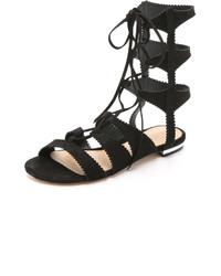 Sandales spartiates en daim noires Schutz