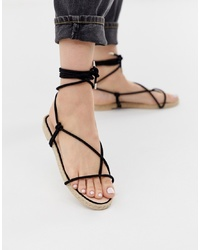 Sandales spartiates en daim noires SIMMI Shoes