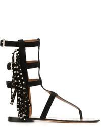 Sandales spartiates en daim noires Valentino