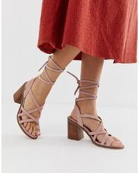 Sandales spartiates en daim roses ASOS DESIGN