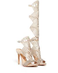 Sandales spartiates hautes en cuir beiges