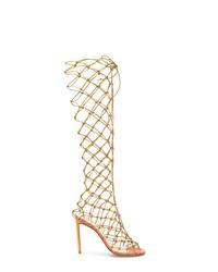 Sandales spartiates hautes en cuir dorées Francesco Russo