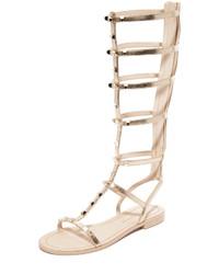 Sandales spartiates hautes en cuir dorées Rebecca Minkoff