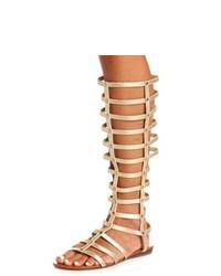 Sandales spartiates hautes en cuir marron clair