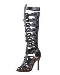 Sandales spartiates hautes en cuir noires