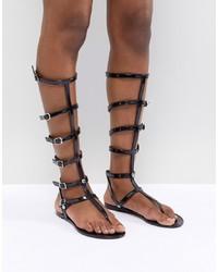 Sandales spartiates hautes en cuir noires ASOS DESIGN