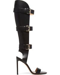 Sandales spartiates hautes en cuir noires Francesco Russo