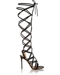 Sandales spartiates hautes en cuir noires Gianvito Rossi
