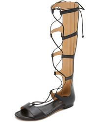 Sandales spartiates hautes en cuir noires MICHAEL Michael Kors