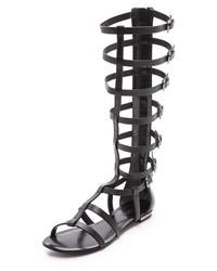 Sandales spartiates hautes en cuir noires Schutz
