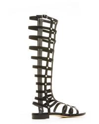 Sandales spartiates hautes en cuir noires Stuart Weitzman
