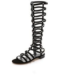 Sandales spartiates hautes en daim noires