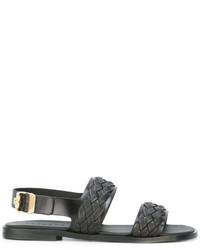 Sandales tressées noires Versace