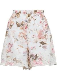 Short à fleurs blanc et rose Zimmermann