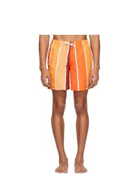 Short de bain à rayures verticales orange Bather