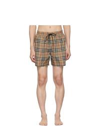 Short de bain écossais marron clair Burberry