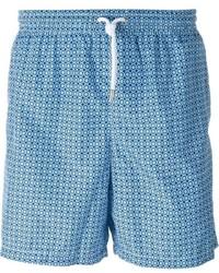 Short de bain géométrique bleu clair Kiton