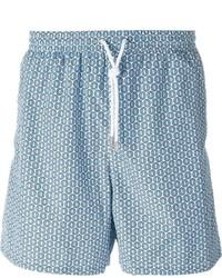 Short de bain imprimé bleu clair Kiton