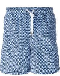 Short de bain imprimé bleu Kiton
