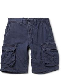 Short en coton bleu marine Incotex