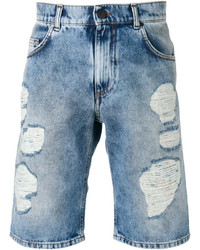 Short en coton déchiré bleu clair Versace