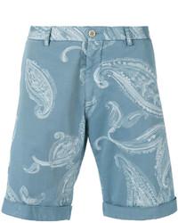 Short en coton imprimé bleu clair Etro