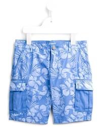 Short en coton imprimé bleu Armani Junior