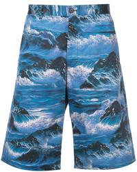 Short en coton imprimé bleu Givenchy