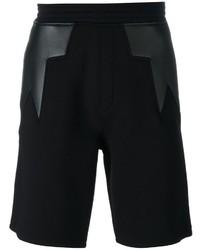 Short en cuir géométrique noir Neil Barrett