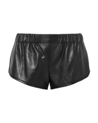 Short en cuir noir Saint Laurent