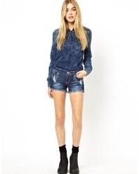 Short en denim bleu marine Only
