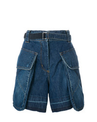 Short en denim bleu marine Sacai