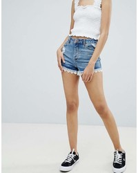 Short en denim bleu Miss Selfridge
