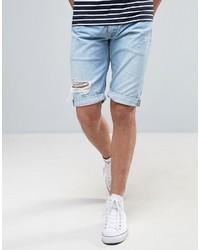 Short en denim déchiré bleu clair Pepe Jeans