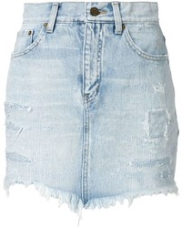 Short en denim déchiré bleu clair Saint Laurent