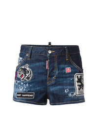 Short en denim déchiré bleu marine Dsquared2