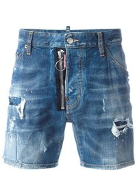 Short en denim déchiré bleu
