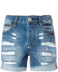 Short en denim déchiré bleu Philipp Plein