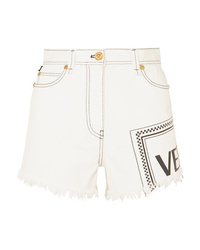 Short en denim imprimé blanc Versace