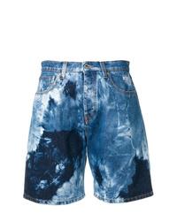 Short en denim imprimé tie-dye bleu MSGM