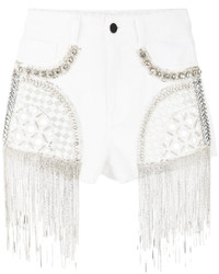 Short en denim orné blanc Amen