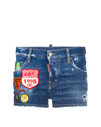 Short en denim orné bleu Dsquared2