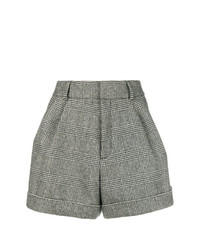 Short en laine à carreaux gris Saint Laurent