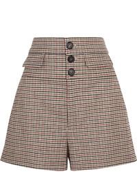 Short en laine à carreaux marron