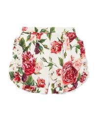 Short en soie à fleurs blanc Dolce & Gabbana