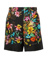 Short en soie à fleurs noir Gucci