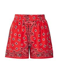 Short en soie imprimé cachemire rouge Alexander Wang